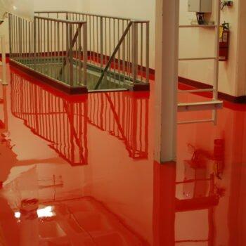 red seamless, waterproof and leakproof epoxy polymer floor toronto