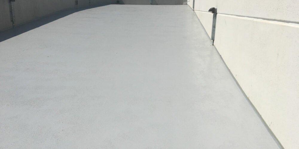 seamless waterproof polymer traffic membrane on parking garage roof deck Toronto Ontario